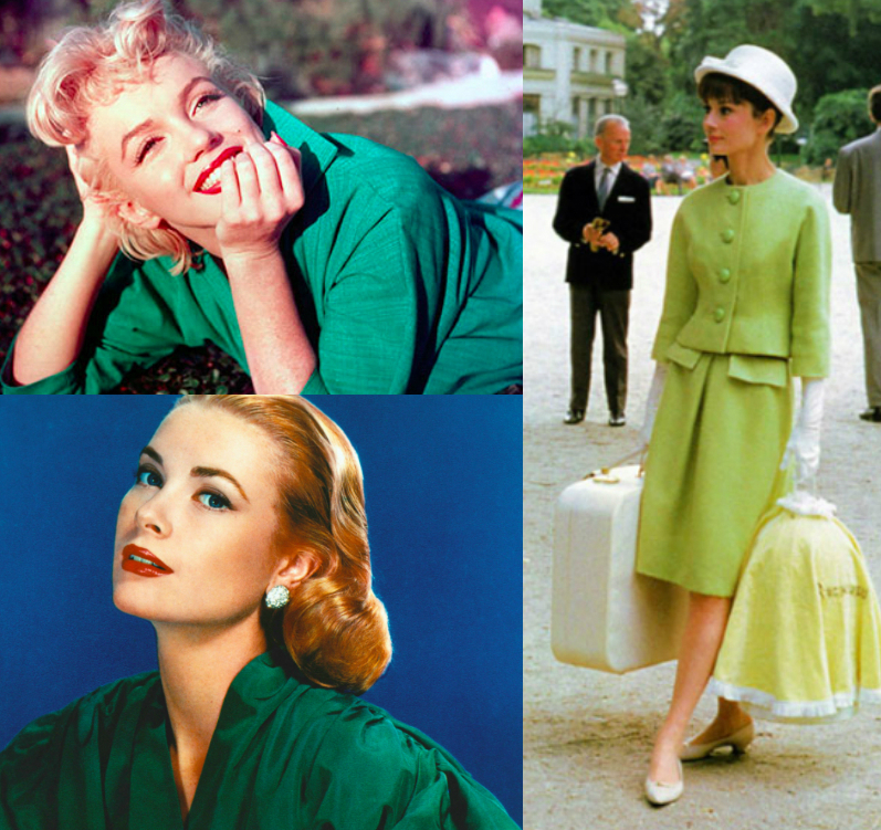 Not afraid of green: Marylin Monroe, Grace Kelly and Audrey Hepburn. Green is an Icon Color too.