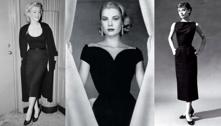 "Marylin Monroe, Grace Kelly and Audrey Hepburn in their Little Black Dress. ""The uniform for all women of taste"", according to Voque in 1926."