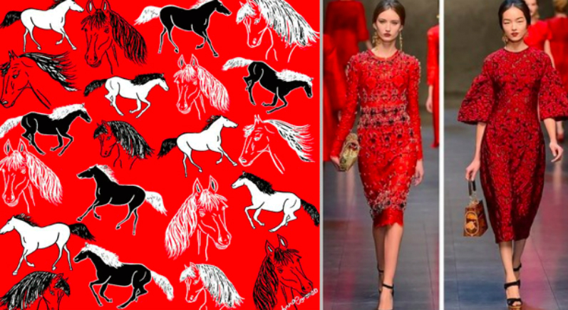 Prosperity, happiness. Bloomingdale's celebrates the Chinese Year of the Horse with an exclusive print from designer Anna Coronea: black and white horses galloping along a red canvas. Red is the color of luck in the Chinese culture.